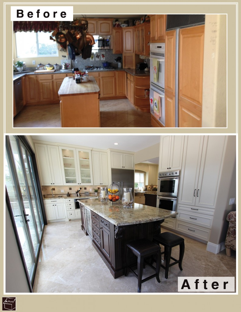 Huntington Beach - traditional 2-section white & brown kitchen remodel with custom cabinets
