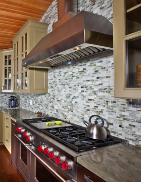 Luxury High end kitchen remodel showing the cooking area with high end stovetop in Laguna Beach California