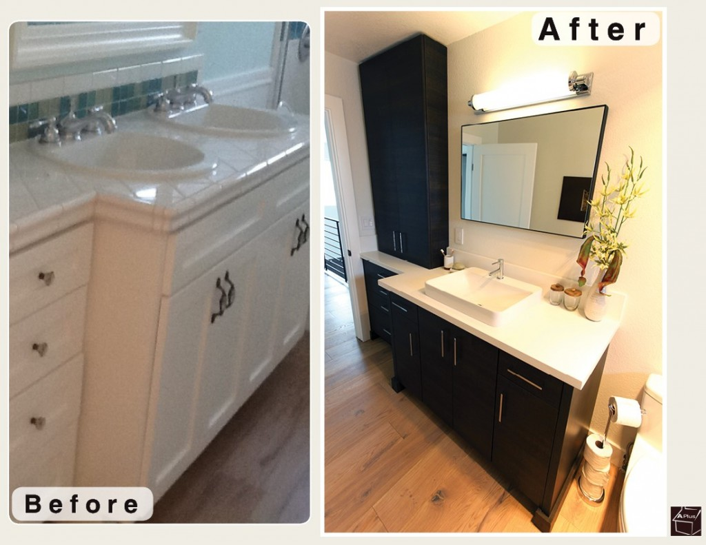 Long Beach Black Contemporary Modern L-Shaped Kitchen and Bathroom Remodel with Custom Sophia Line Cabinets