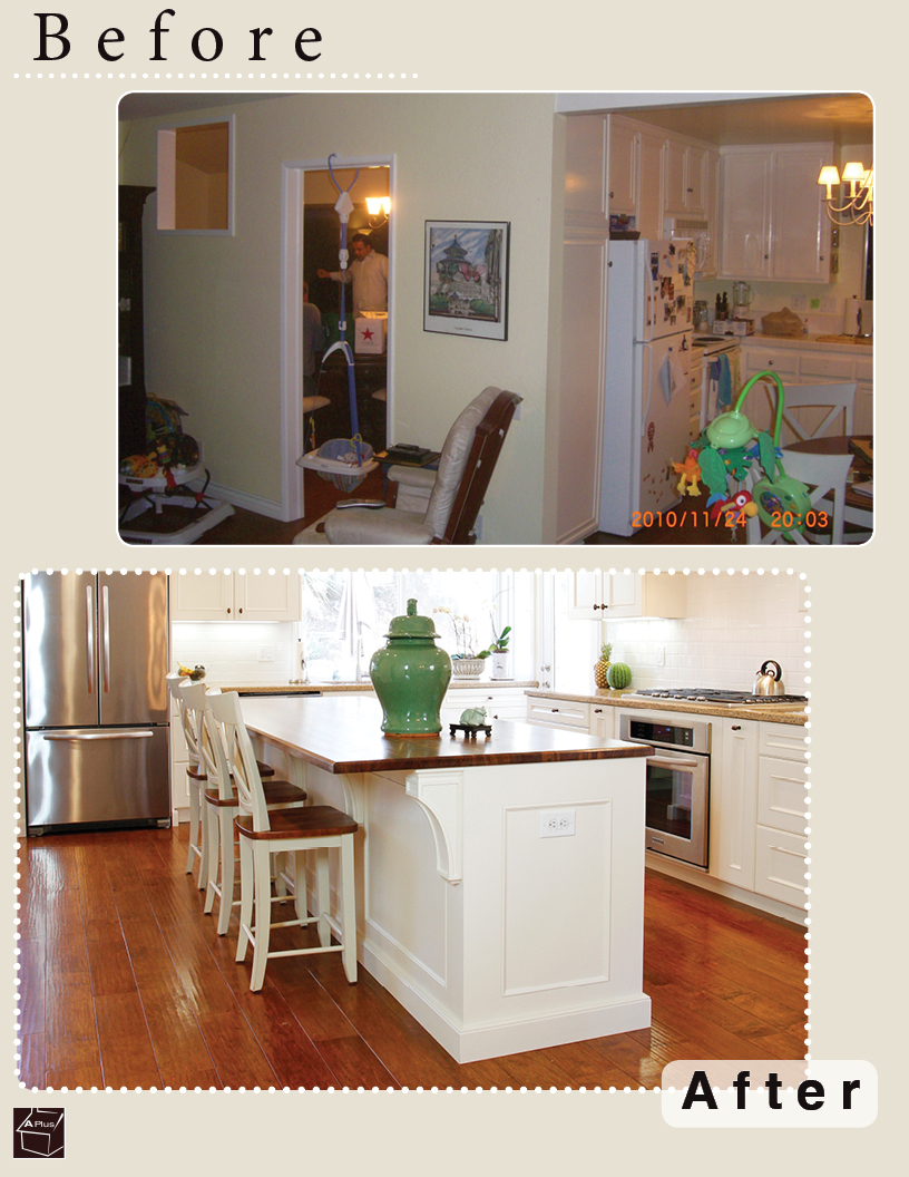 Before & After of a kitchen remodel in city of Mission Viejo