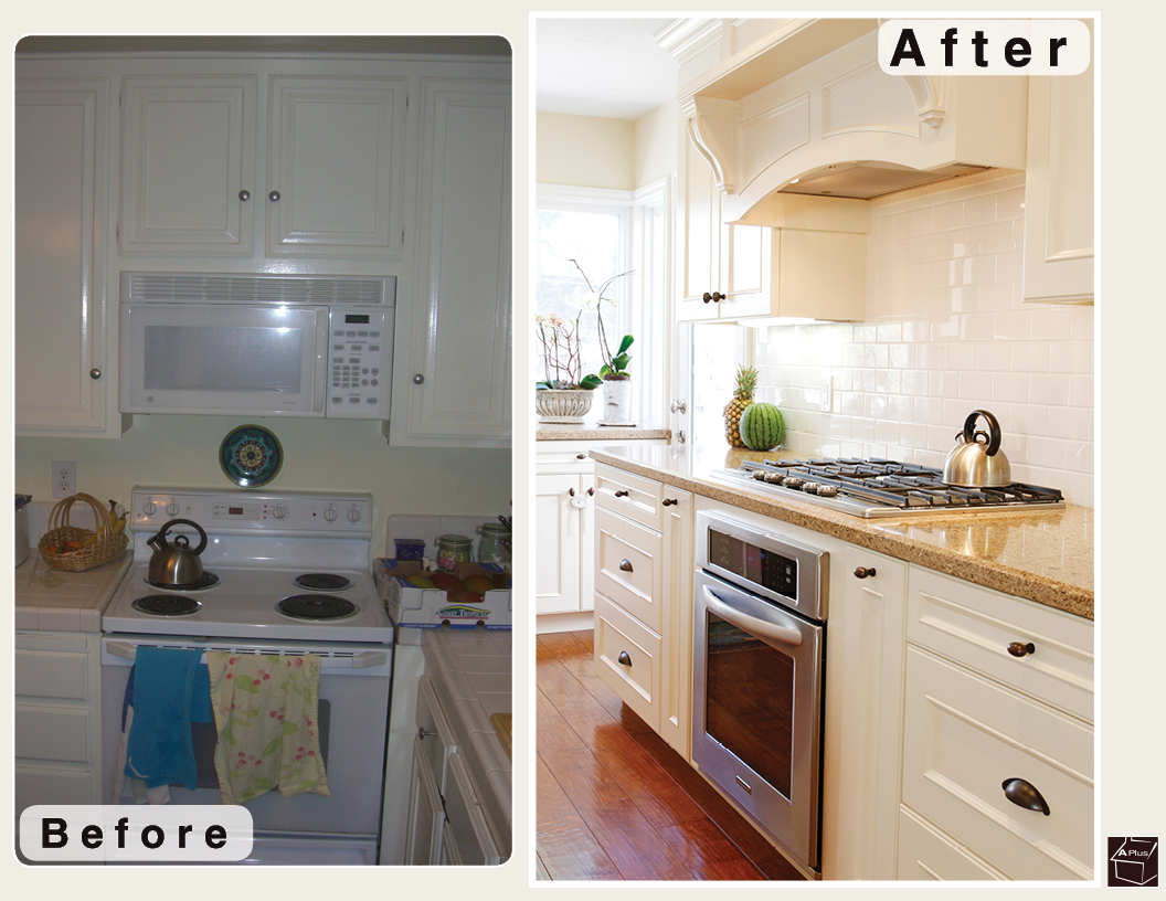 This is a photo of the kitchen remodel showing the before & after that was done in Mission Viejo Orange County