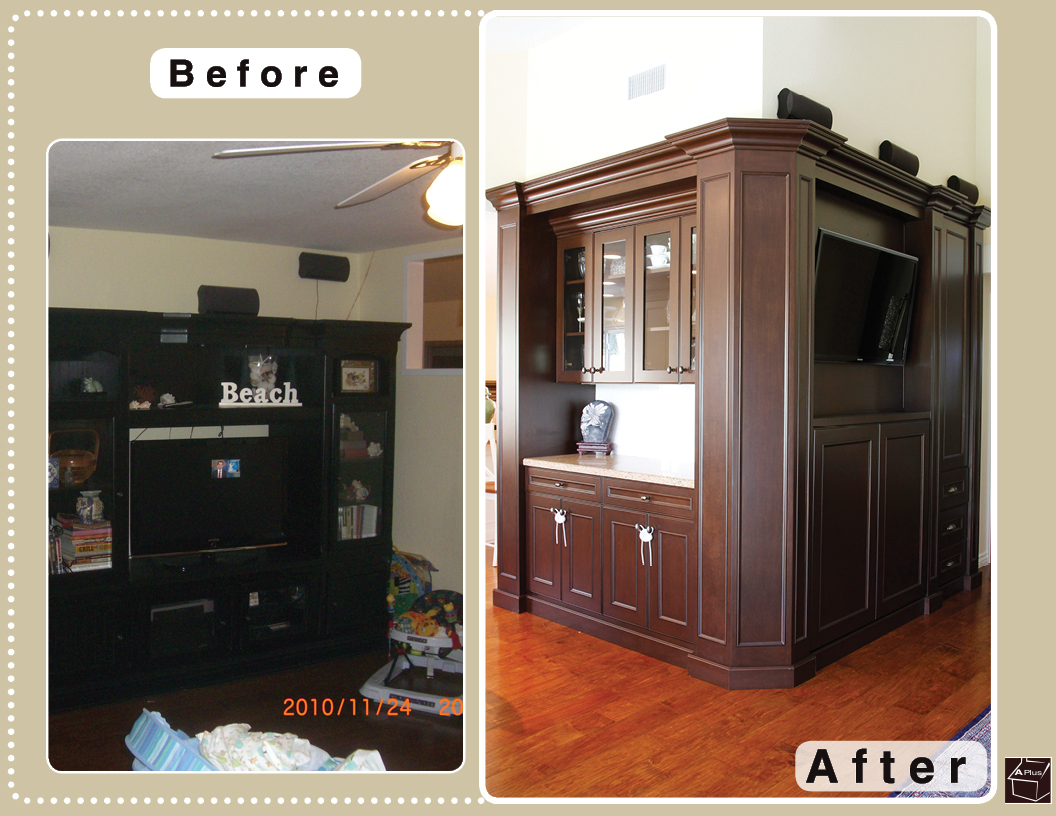 This is photo of before & after of a home remodel done in City of mission Viejo
