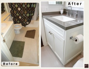 Modern Contemporary Bathroom Remodel with our custom cabinets and Cambria Quartz countertop