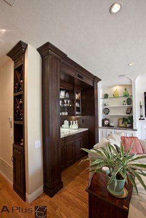 Irvine Nook & Wine Cellar with custom cabinetry by APlus Kitchen & Bath