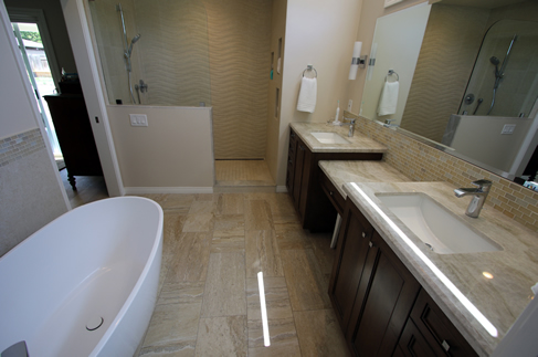 Custom Remodel of Master bathroom with His and Hers vanity in Orange County