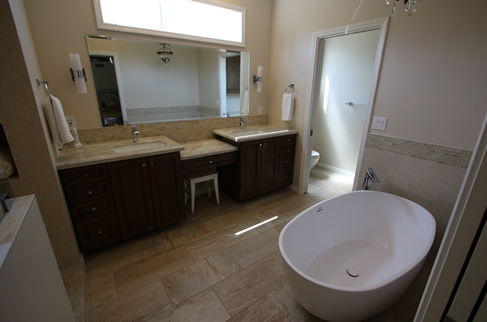 Master Bathroom Remodel with His and Hers custom vanity in Orange County