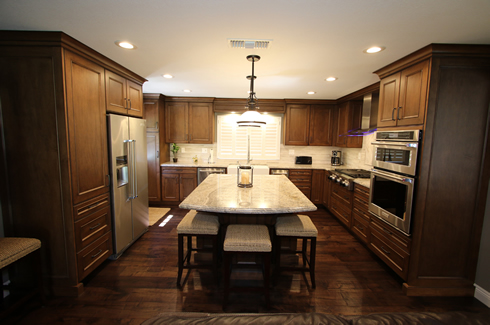 Orange County Brown Kitchen Cabinets