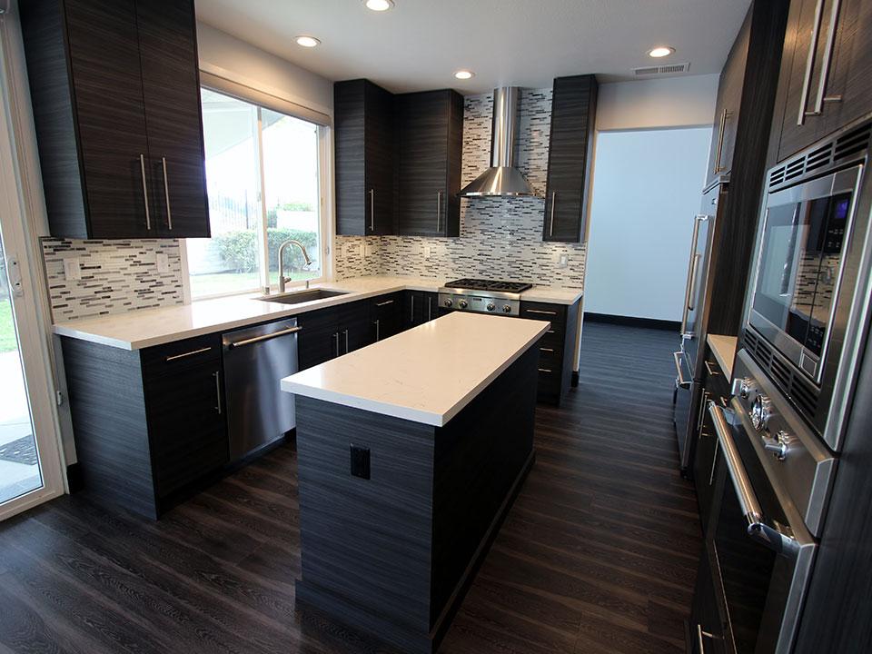 San Clemente Gray & White U-Shaped Modern Kitchen Remodel
