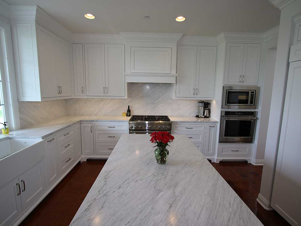 Transitional White Kitchen with Custom Cabinets San ...