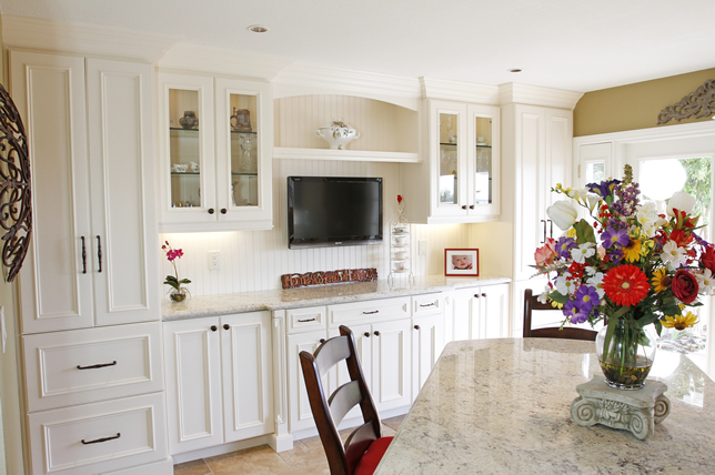 White custom kitchen cabinets with white countertop orange county