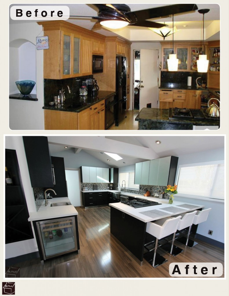 San Clemente Black & White Modern G-Shaped Kitchen Remodel with Sophia Line Cabinets