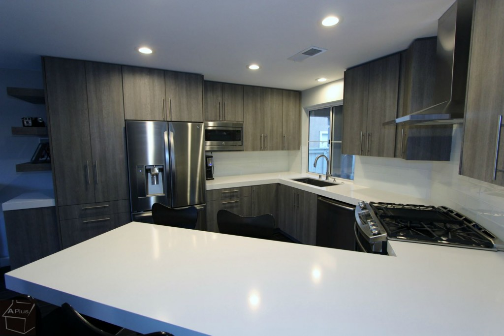 Santa Ana Modern Gray U-Shaped Kitchen Remodel with Sophia Line Modern Cabinets