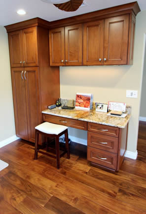 Custom working station study desk in a kitchen remodel & design of orange county california