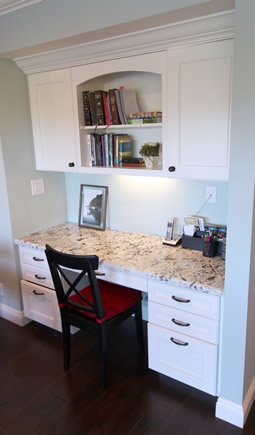 planning & designing Working Station & computer desk in a custom kitchen remodel