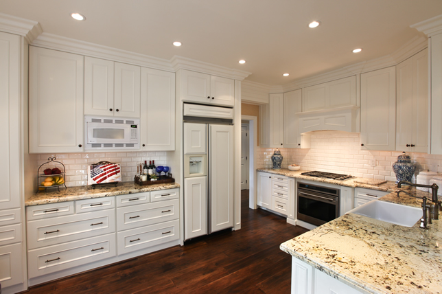 White Kitchen with custom white cabinets in orange county