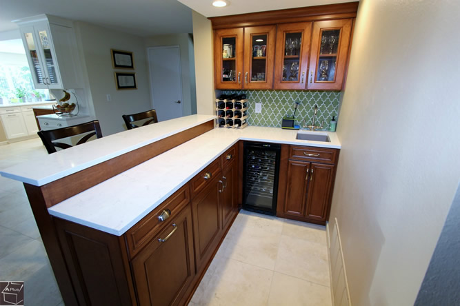 Orange County Wet Bar Cabinets with Cambria Quartz